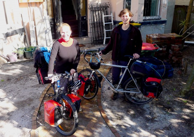 Us with loaded touring bikes